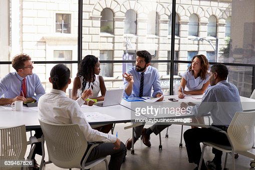 Corporate business team and manager in a meeting, close up : Foto stock