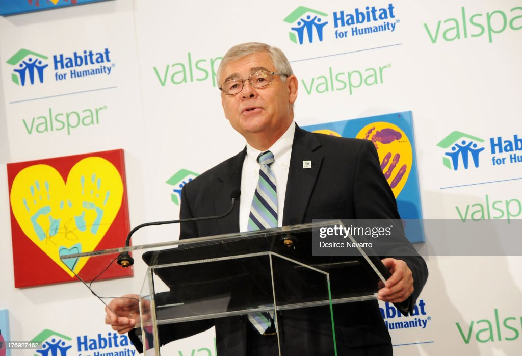 Corporate Development Officer at Habitat for Humanity, Doug Harper speaks at the Valspar Hearts and Hands for Habitat unveiling at Bath House Studios on August 19, 2013 in New York City.