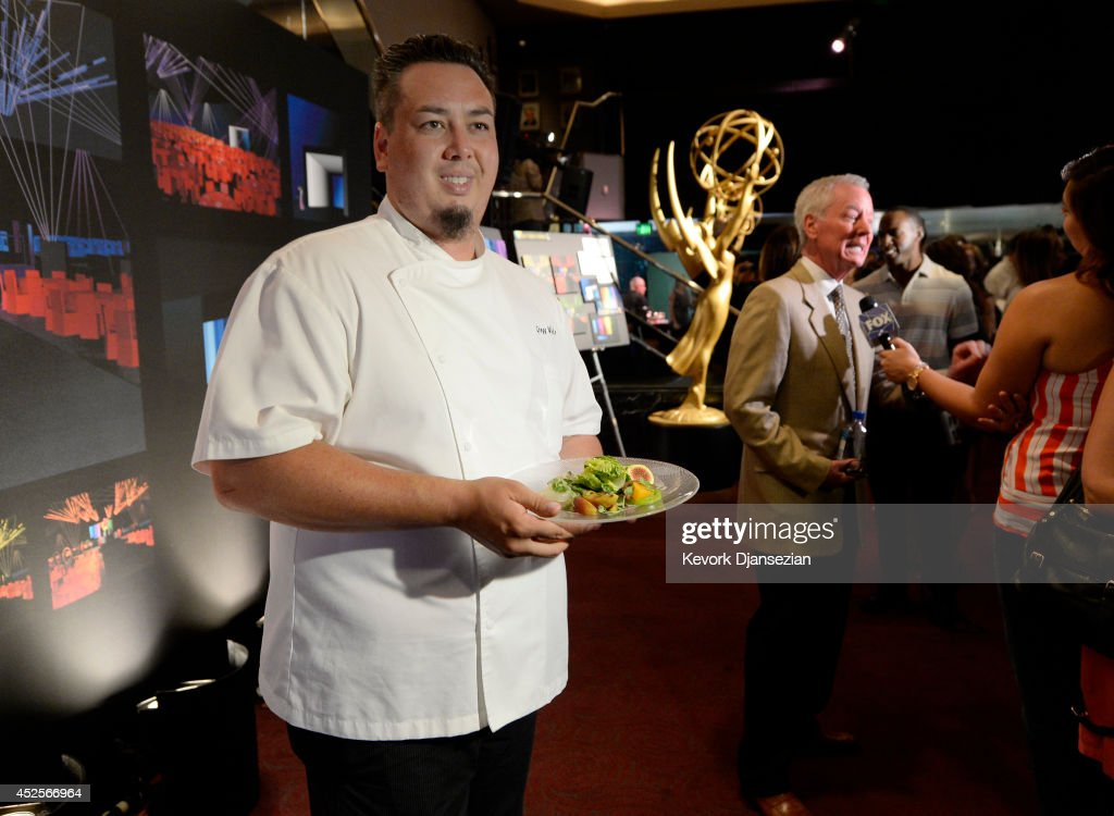 Corporate Executive ChefPatina Catering Gregg Wiele presents the food during 66th Annual Primetime Emmy Awards 2014 Creative ArtsGovernors Ball sneak...