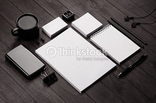 Corporate identity template,  blank stationery set with coffee and earphone on black stylish wood background. Mock up for branding, business presentations and portfolios. : Stock Photo