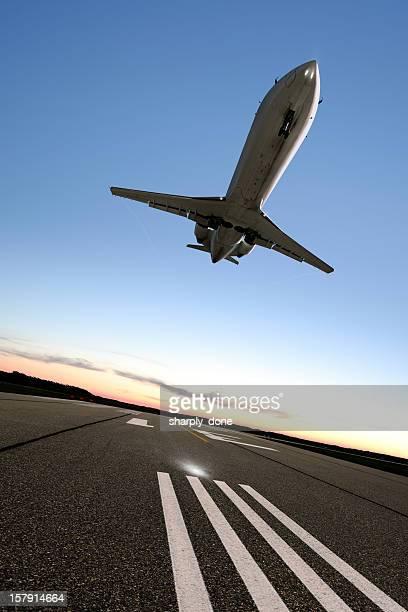 XL corporate jet airplane landing