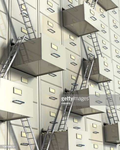 Corporate ladder concept showing wall of filing cabinets