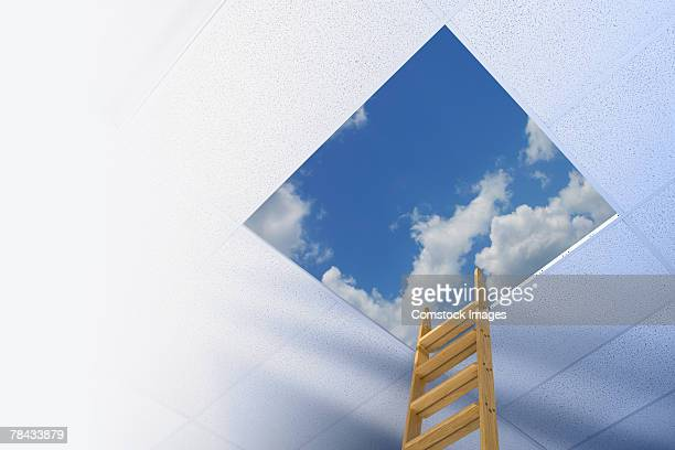 Corporate ladder leading to sky