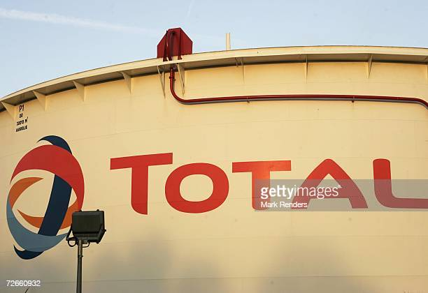 Corporate logo on a gas container at the Total Refinery on November 23 2006 in Antwerp Belgium Total Refinery Antwerp the second largest refinery in...