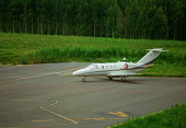 corporate private jet at airport