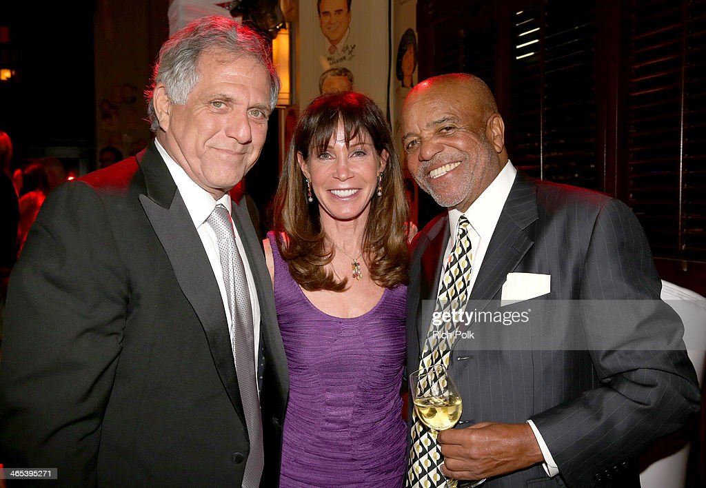 CBS Corporation Chairman/CEO Leslie Moonves (L), guest and producer Berry Gordy attend Sony Music Entertainment Post-Grammy Reception at The Palm on January 26, 2014 in Los Angeles, California.
