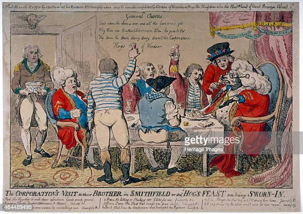 Corporation of Windsor 1790 'The Corporation's visit to their brother in Smithfield or the hog's feast on being swornin ' Ahog in wig spectacles and...