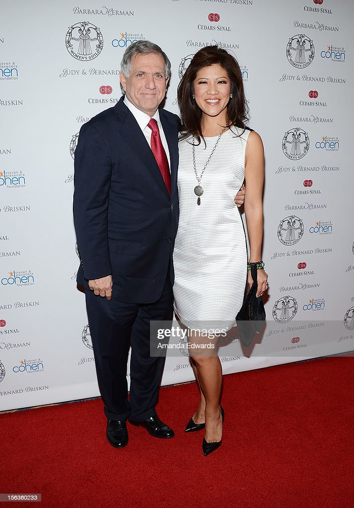 Corporation President and CEO Leslie Moonves (L) and news anchor <a gi-track='captionPersonalityLinkClicked' href=/galleries/search?phrase=Julie+Chen&family=editorial&specificpeople=206213 ng-click='$event.stopPropagation()'>Julie Chen</a> arrive at the 55th Annual Women's Guild Cedars-Sinai Anniversary Gala at the Beverly Wilshire Four Seasons Hotel on November 13, 2012 in Beverly Hills, California.
