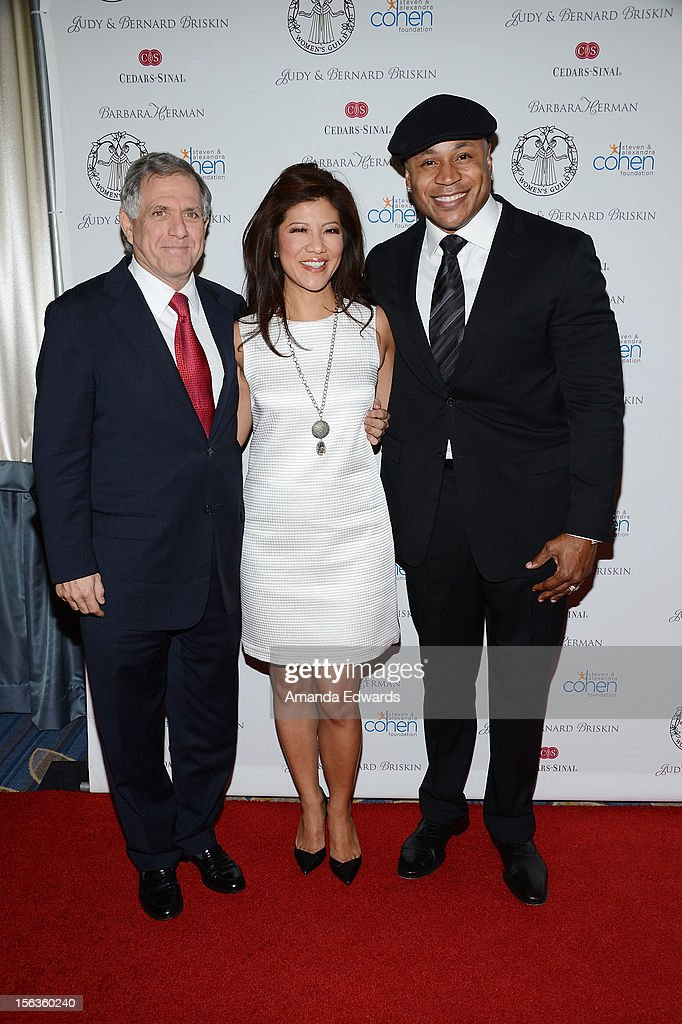 CBS Corporation President and CEO Leslie Moonves, news anchor <a gi-track='captionPersonalityLinkClicked' href=/galleries/search?phrase=Julie+Chen&family=editorial&specificpeople=206213 ng-click='$event.stopPropagation()'>Julie Chen</a> and actor <a gi-track='captionPersonalityLinkClicked' href=/galleries/search?phrase=LL+Cool+J&family=editorial&specificpeople=201567 ng-click='$event.stopPropagation()'>LL Cool J</a> arrive at the 55th Annual Women's Guild Cedars-Sinai Anniversary Gala at the Beverly Wilshire Four Seasons Hotel on November 13, 2012 in Beverly Hills, California.