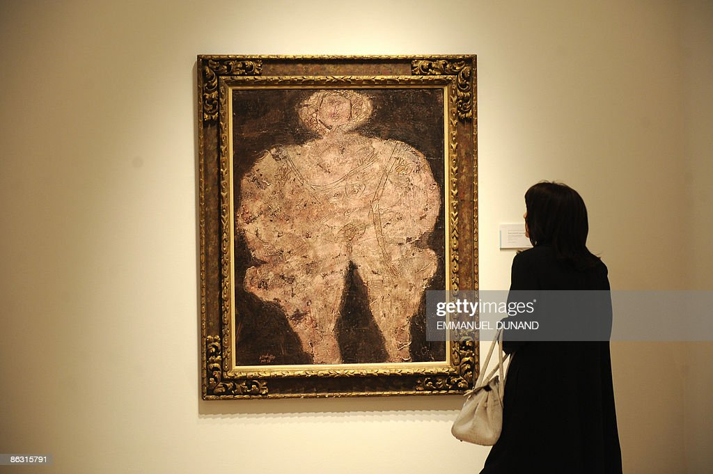 'Corps de dame, la rose incarnate' by artist Jean Dubuffet is on display at Christie's during a press preview of their Post War and Contemporary Art Evening Sales in New York on May 01, 2009. The painting will go under the hammer with an estimate of 700,000-1 million USD on May 13. AFP PHOTO/Emmanuel Dunand
