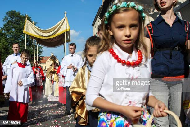 Corpus Christi procession in Krakow Poland on 16 June 2017 Catholic people in Poland celebrate Corpus Christi during the Holly Mass and processions...