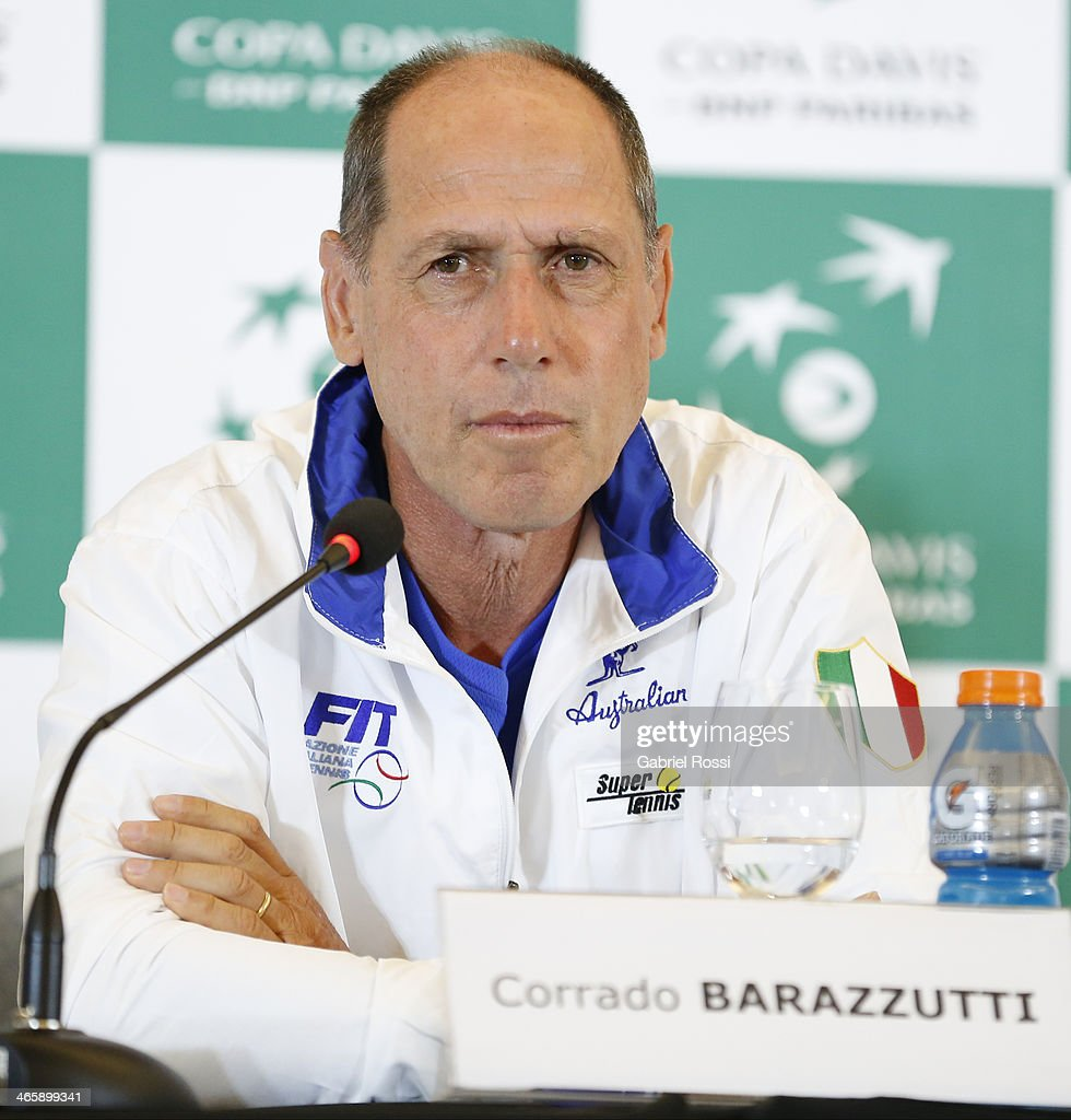 Corrado Barazzutti Coach of Italy looks on during a press conference as part of the Copa Davis Draw between Argentina and Italy at NH Hotel on January 30, 2014 in Buenos Aires, Argentina.