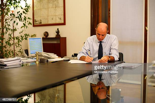 Corrado Passera chief executive officer of Intesa San Paolo posing in his office in Milan Italy on January 15th 2008 sitting at the desk the banker...