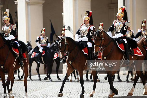 Corrazzieri attend the state visit of King Harald V of Norway at the Quirinale Palace on April 6 2016 in Rome Italy
