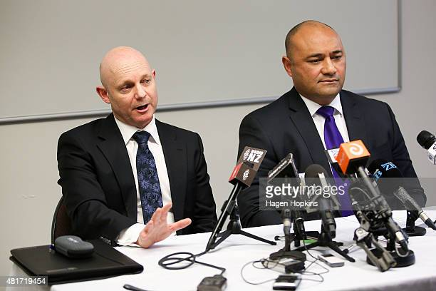 Corrections Chief Executive Ray Smith speaks to the media while Minister of Corrections Peseta Sam LotuIiga looks on at the Beehive on July 24 2015...
