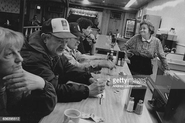 Corrections officers and prison workers eat at one of the only local dinners in Dannemora New York February 1 1996 The small upstate New York town of...