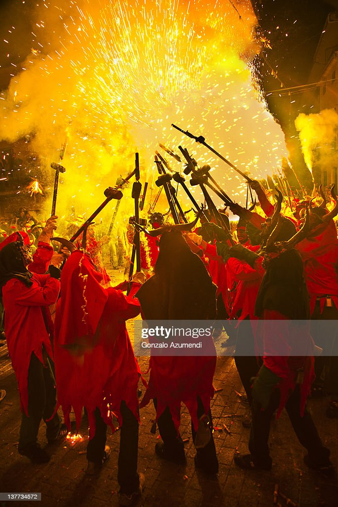 Correfoc or fire runs in Alaro.