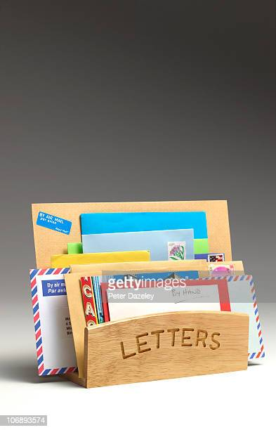 Correspondence in letter rack