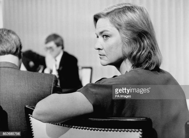 BBC correspondent Kate Adie at a press conference at Television Centre Wood Lane Shepherd's Bush West London when the BBC rejected Conservative Party...