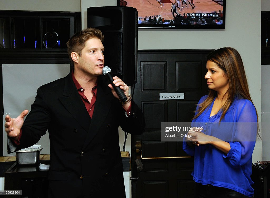 Correspondent Kristina Guerrero and actor <a gi-track='captionPersonalityLinkClicked' href=/galleries/search?phrase=Sean+Kanan&family=editorial&specificpeople=544480 ng-click='$event.stopPropagation()'>Sean Kanan</a> participates in Food On Foot's 'Hot Latin Nights' held at Casa Azul Cantina on November 8, 2012 in Los Angeles, California.