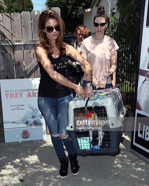 TV correspondent Maria Menounos and comedian Whitney Cummings attend the Beagle Freedom Project event on April 14 2015 in Valley Village California
