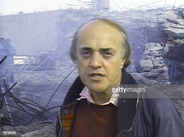 CNN correspondent Peter Arnett reports on a civilian air raid shelter that was allegedly destroyed by allied bombs on February 13 1991 in Baghdad...