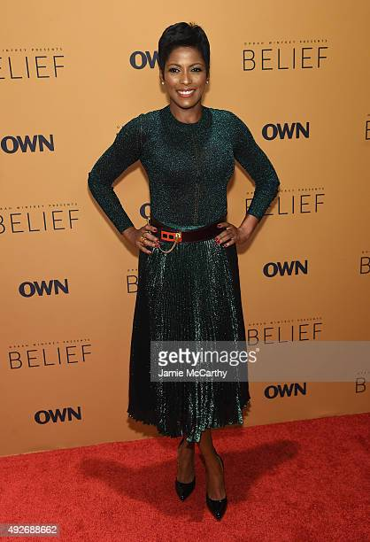 Correspondent Tamron Hall attends the 'Belief' New York premiere at TheTimesCenter on October 14 2015 in New York City