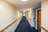 Empty corridor of a care home for the elderly based in England.