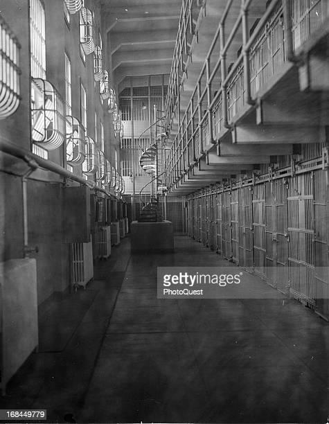 Corridor of Cell Block 'A' in Alcatraz Prison San Francisco California circa 1955