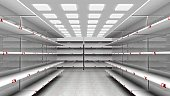 3D rendering of empty supermarket with shelves and red price tags