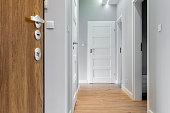 Corridor with wooden floor in modern apartment