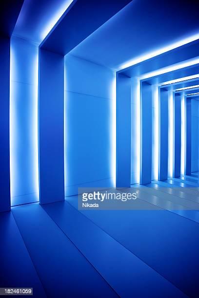 corridor with blue columns