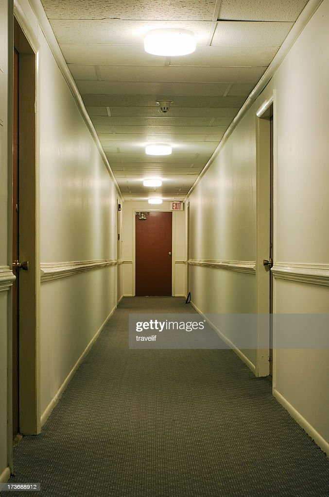 Corridor with exit sign