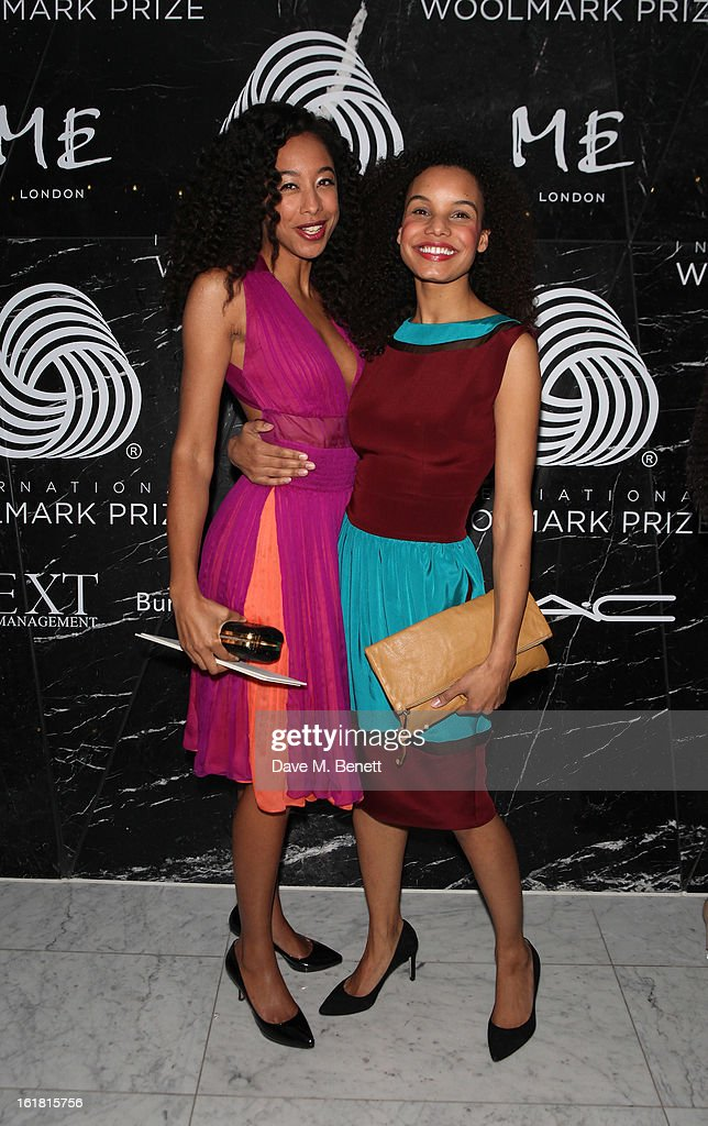 Corrine Bailey Rae and sister Candice attend the 2013 International Woolmark Prize Final at ME London on February 16, 2013 in London, England.