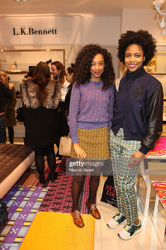 Corrine Bailey Rae (L) attends as L.K. Bennett London and Caroline Issa launch their exclusive collection of shoes and handbags for Spring Summer 2013 at L.K. Bennett on February 18, 2013 in London, England.