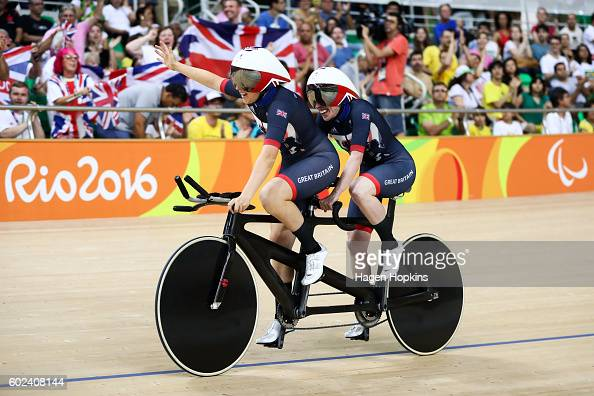 Corrine Hall and Lora Turnham of Great Britain celebrate after winning gold in the Women's B 3000m Individual Pursuit Final on day 4 of the Rio 2016...