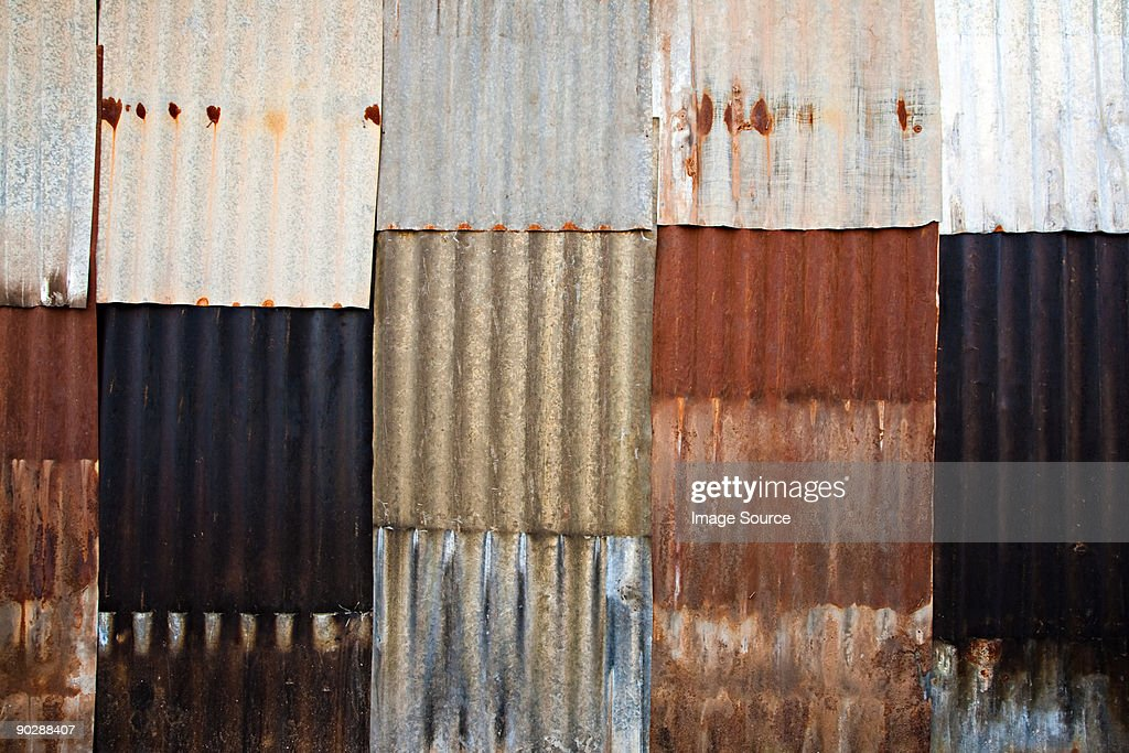Corrugated iron wall