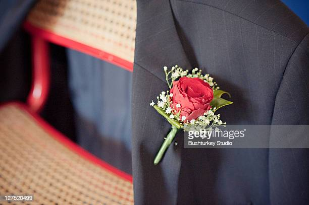 Corsage on mans jacket