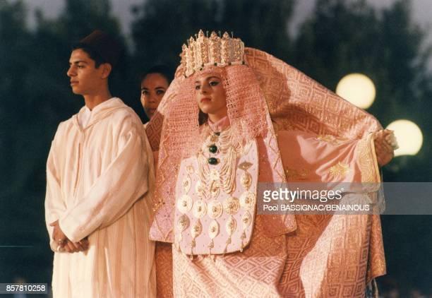 Cortege du mariage de la Princesse Lalla Hasna du Maroc le 8 septembre 1994 a Fes Maroc