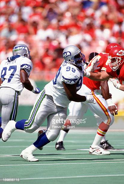 Cortez Kennedy of the Seattle Seahawks pursues the play against the Kansas City Chiefs during an NFL football game September 13 1992 at Arrowhead...