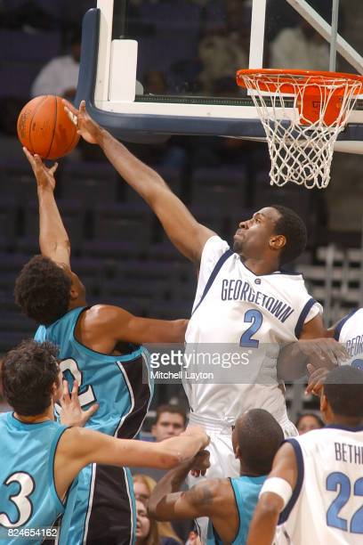 Cortland Freeman of the Georgetown Hoyas blocks a shot during a college basketball game against the Coastal Carolina Chanticleers at MCI Center on...