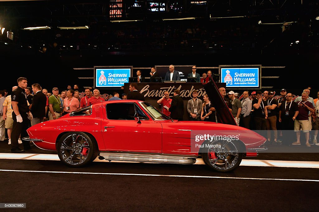 A Corvette Custom is auctioned at the Barrett-Jackson Inaugural Northeast Auction at Mohegan Sun Arena on June 25, 2016 in Uncasville, Connecticut. Organizers estimated app. 70,000 vistors attended the three day auction June 23-25 during which hundreds of collectors were sold at auction.