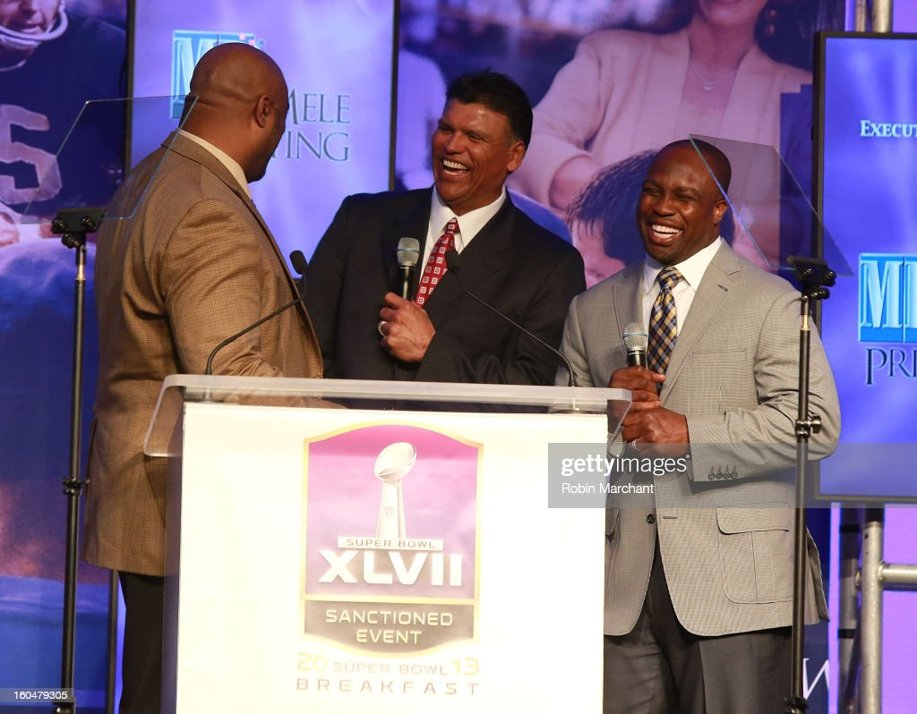 Corwin Anthony, Anthony Munoz and London Fletcher attend the 2013 Super Bowl Breakfast at the Hyatt Regency New Orleans on February 1, 2013 in New Orleans, Louisiana.