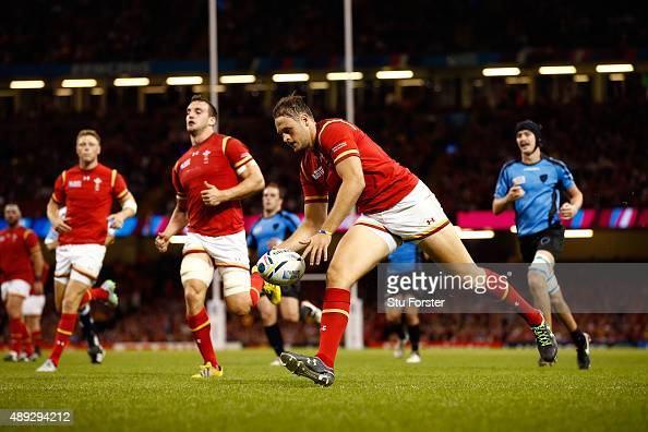 Cory Allen of Wales scores his teams fourth try and his third during the 2015 Rugby World Cup Pool A match between Wales and Uruguay at the...
