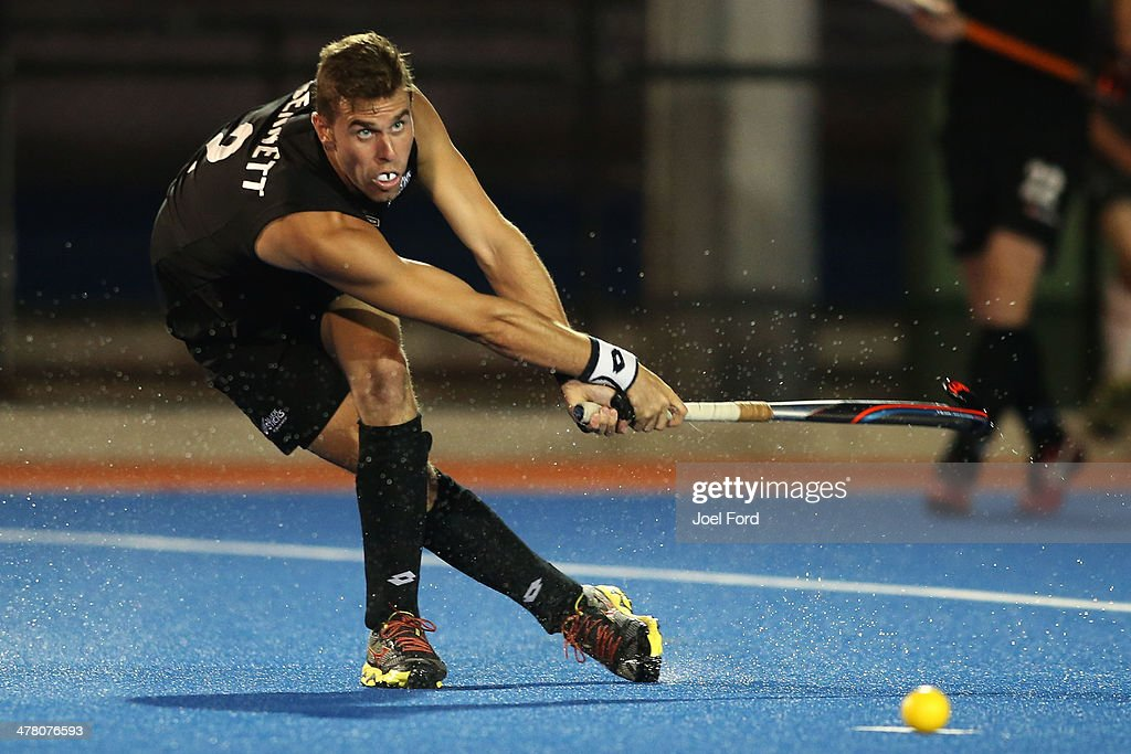 Cory Bennett of New Zealand plays a pass during the Test Match between the New Zealand Black Sticks and Japan at Blake Park on March 12, 2014 in Mount Maunganui, New Zealand.