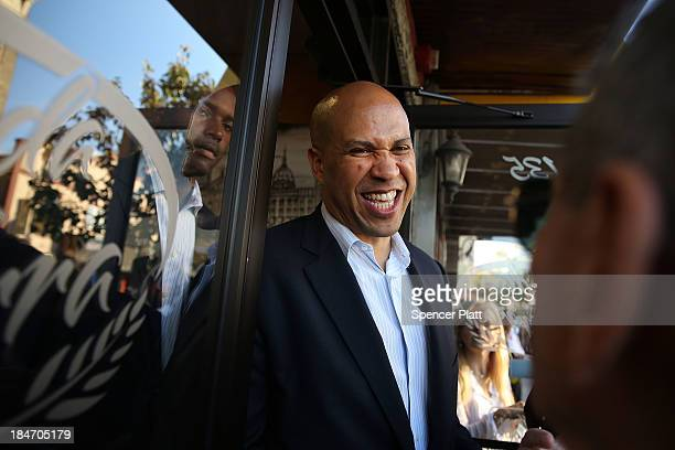 Cory Booker Newark Mayor and Democratic candidate in tomorrow's US Senate special election in New Jersey campaigns in downtown Newark on October 15...