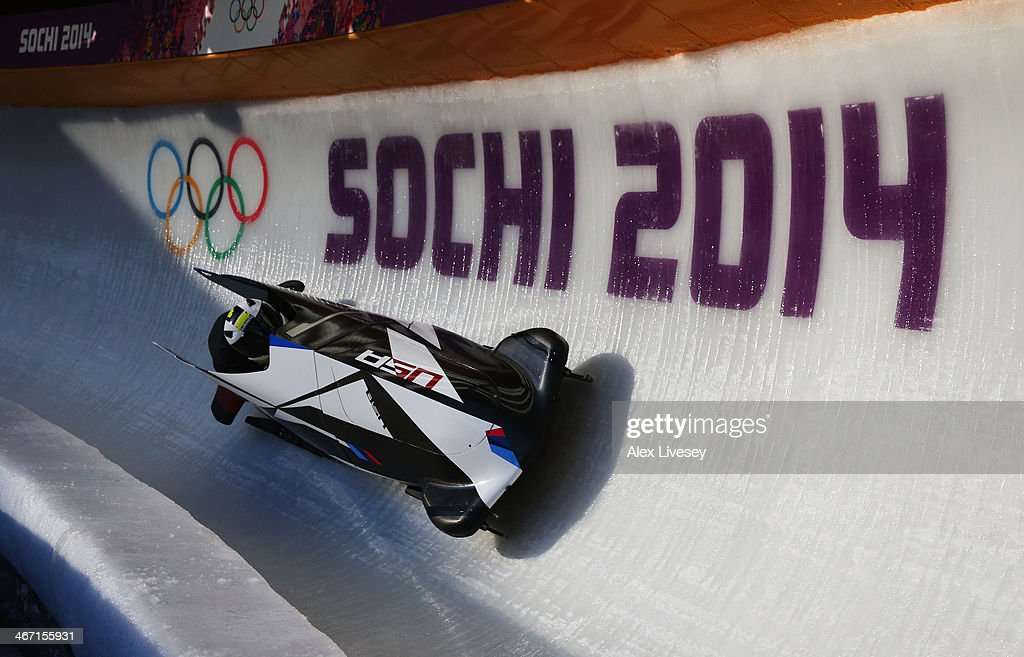 Cory Butner of United States pilots a bobsleigh practice run ahead of the Sochi 2014 Winter Olympics at the Sanki Sliding Center on February 6, 2014 in Sochi, Russia.
