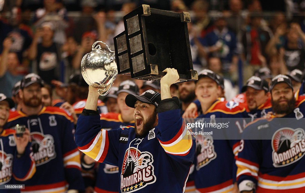 Cory Conacher celebrates as the Norfolk Admirals beat the Toronto Marlies 61 to win the Calder Cup in four straight games at the Ricoh Coliseum in...