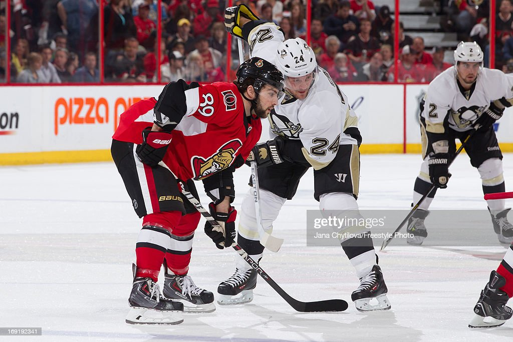 Cory Conacher #89 of the Ottawa Senators prepares for a faceoff against Matt Cooke #24 of the Pittsburgh Penguins in Game Three of the Eastern Conference Semifinals during the 2013 NHL Stanley Cup Playoffs, at Scotiabank Place, on May 19, 2013 in Ottawa, Ontario, Canada.