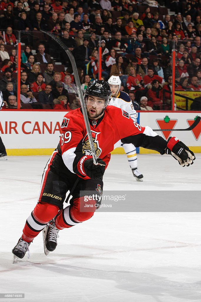 Cory Conacher #89 of the Ottawa Senators skates against the Buffalo Sabres during an NHL game at Canadian Tire Centre on February 6, 2014 in Ottawa, Ontario, Canada.